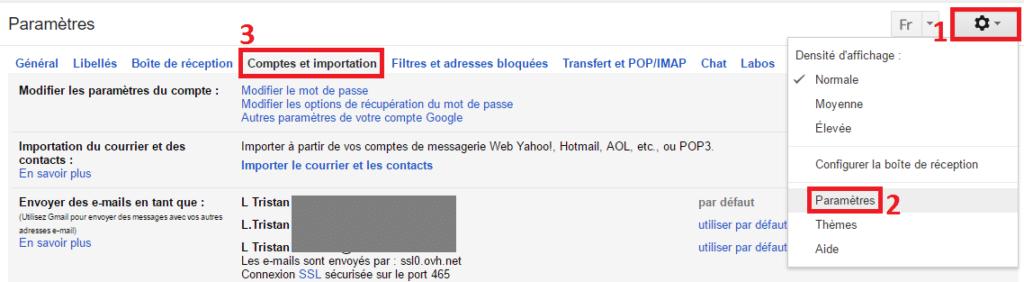 Comptes et Importation - Gmail