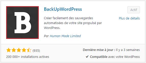 Plugin WordPress pour sauvegarder son site