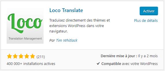 Plugin pour traduire un thème wordpress - Loco Translate