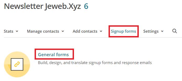 """Sélectionner """"general forms"""" dans MailChimp"""