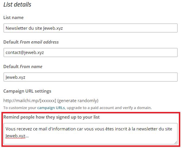Renseigner les informations recquises pour créer une liste sur MailChimp