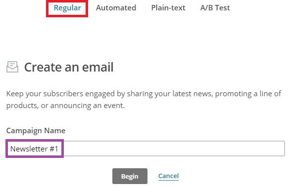 Créer une newsletter avec MailChimp - étape 1