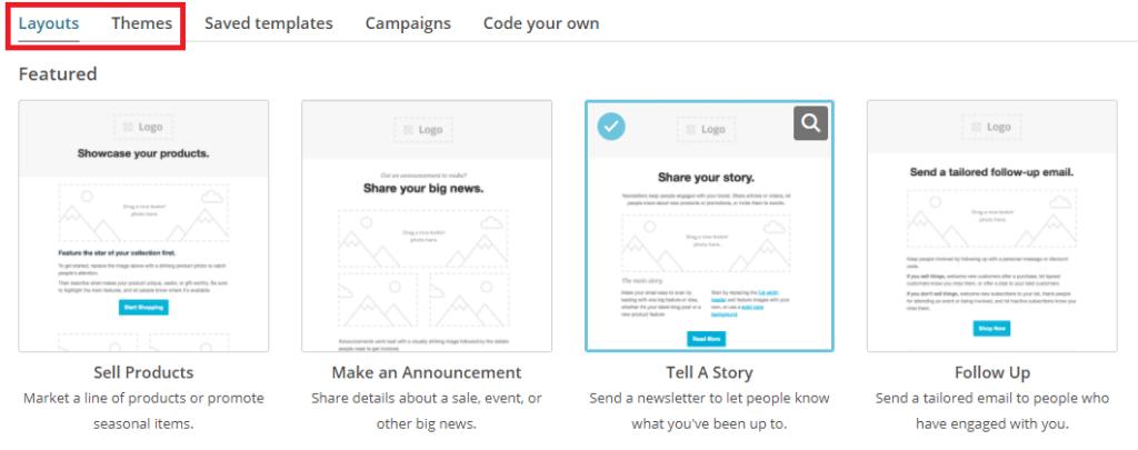 Choisir un template sur MailChimp
