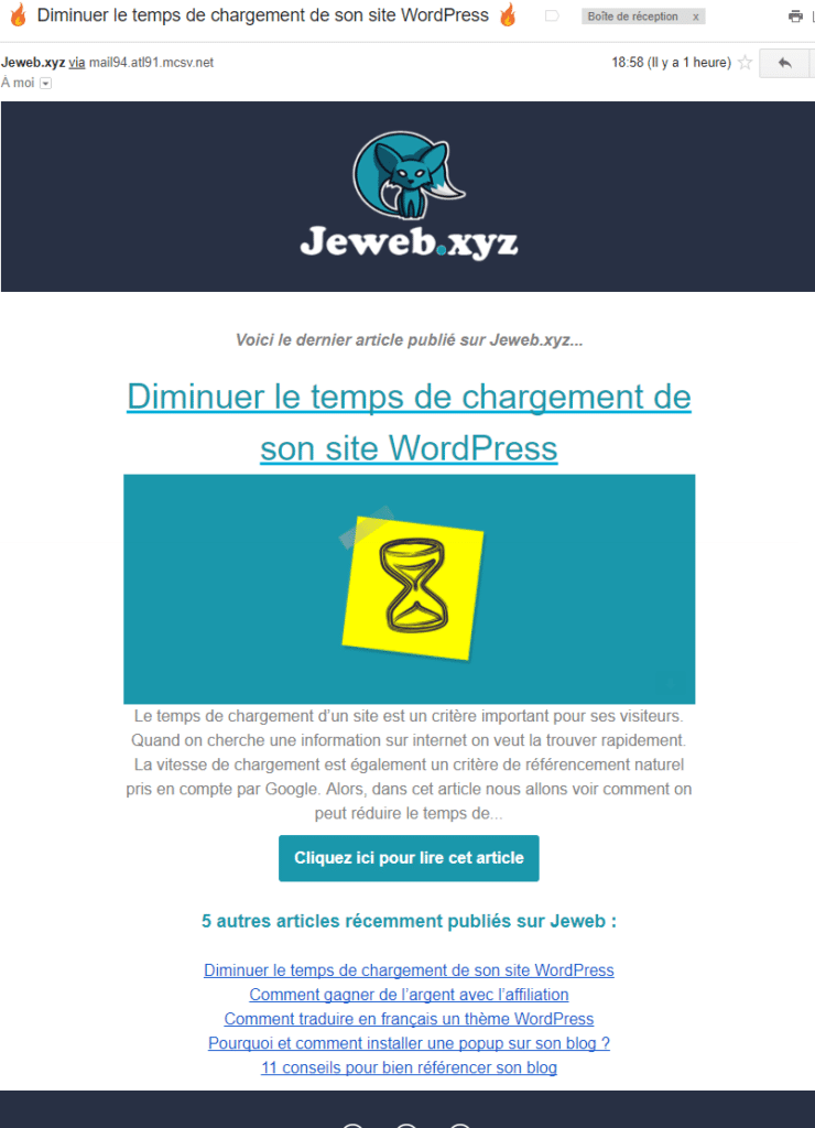 Exemple newsletter Jeweb.xyz MailChimp