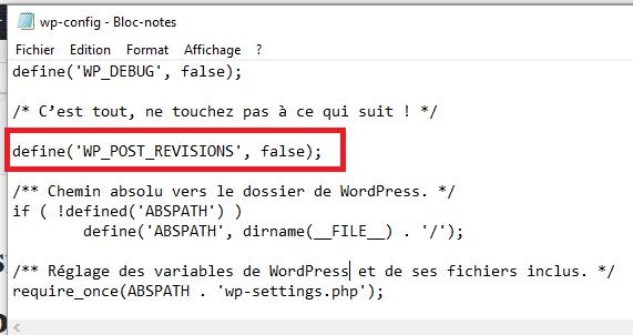 Insérer la ligne de code dans wp-config.php pour désactiver les révisions