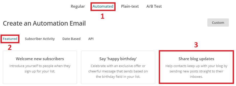 Envoyer un mail à chaque article publié MailChimp