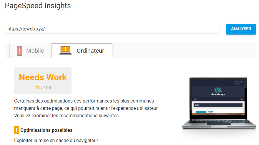 PageSpeed Insight - Outil de test de vitesse de chargement par Google