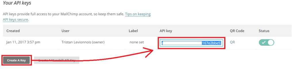 Récupérer la clé API dans MailChimp - étape 2