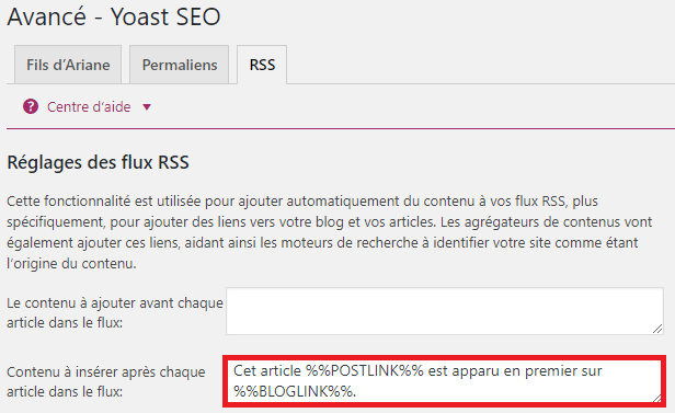 Réglages flux RSS Yoast SEO WordPress