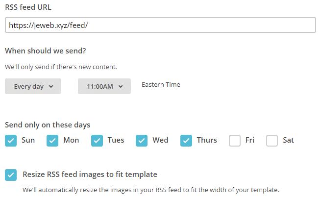 Lien du flux RSS, dates et heures personnalisés, redimensionner les images... MailChimp
