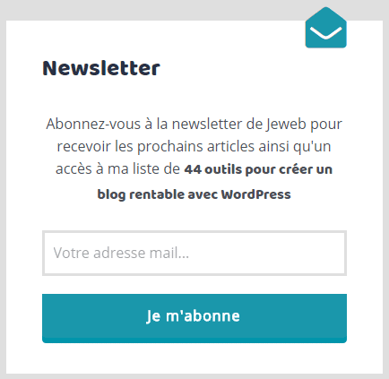 Formulaire d'inscription à la mailing list
