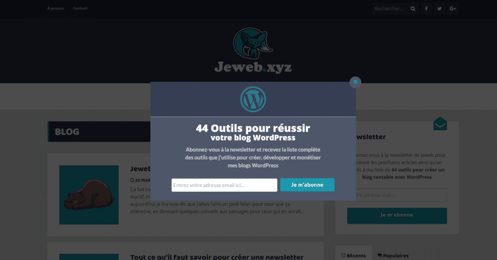 Pop-up collecte d'emails jeweb