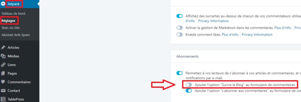 Désactiver l'option d'abonnement par mails de Jetpack
