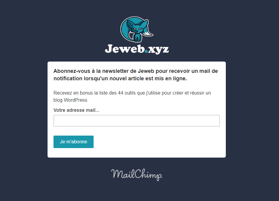 Page de capture emails Jeweb