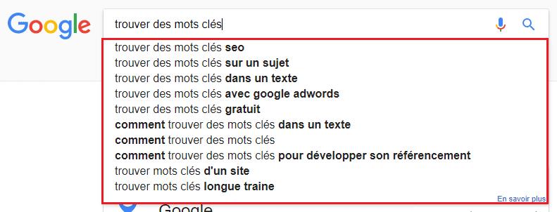 Les suggestions de mots clés dans les moteurs de recherche