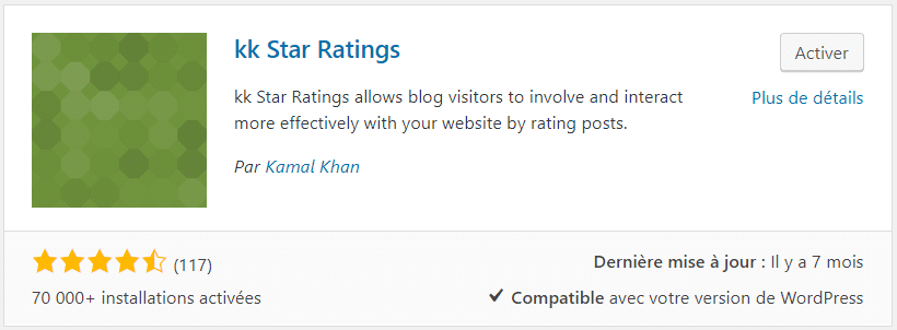 KK Star Ratings Plugin WordPress